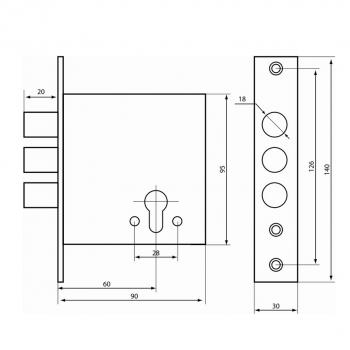 """Схема Замок дополнительный цилиндровый S. A. P. Design """"Стандарт"""" 3 ригеля 18 мм"""