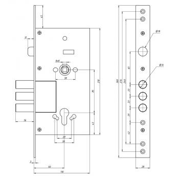Схема Замок основной цилиндровый S.A.P. Design 252 R (аналог Kale)