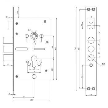 Схема Замок основной цилинровый S.A.P. Design 42.11 (с противоспилом)