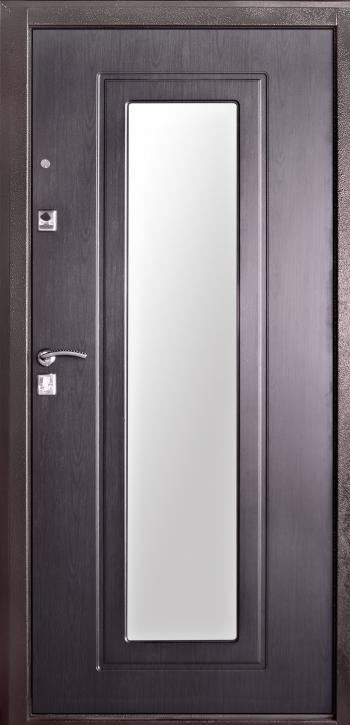 Входная металлическая дверь молоток/МДФ ТМ «Белорусский стандарт»  БС-6 с зеркалом внутреняя сторона