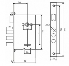 Схема - Замок основной цилиндровый S.A.P. Design 252 R