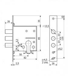 Схема Замок дополнительный цилиндровый S.A.P.Design 12.01 ( аналог Гардиан )